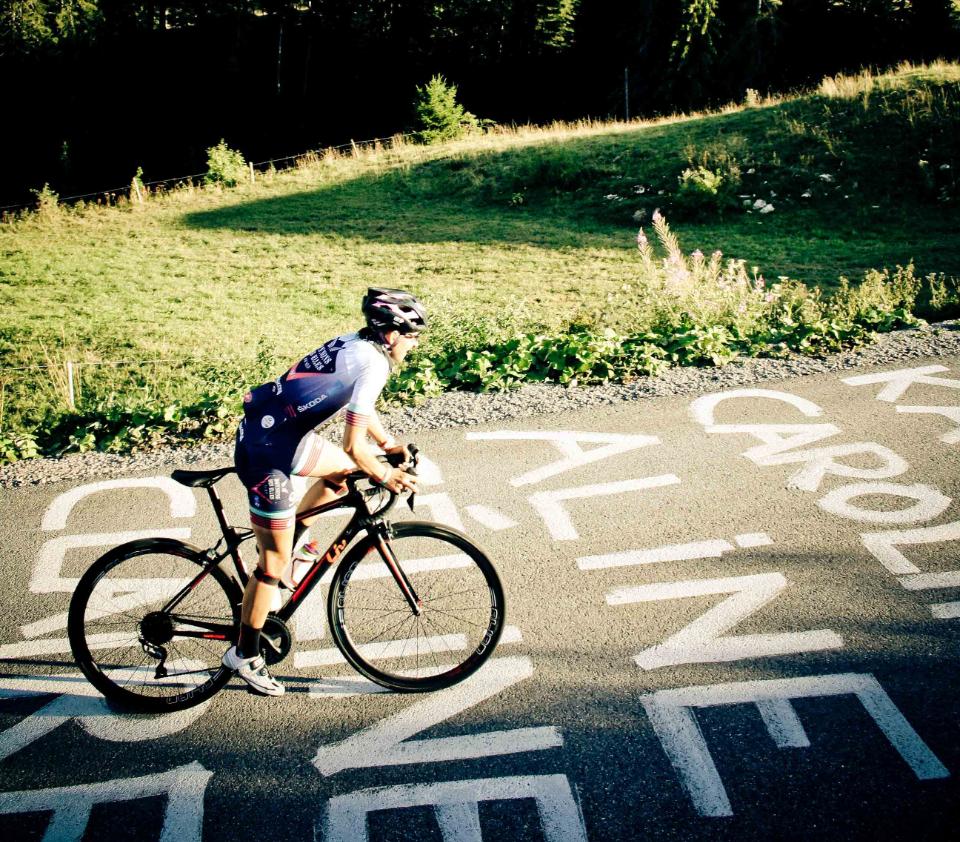 la cycliste Aline clement en pleine course